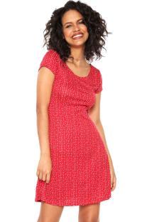 Vestido Fiveblu Curto Evasê Vermelho