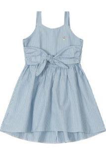 Vestido Azul Midi Listrado