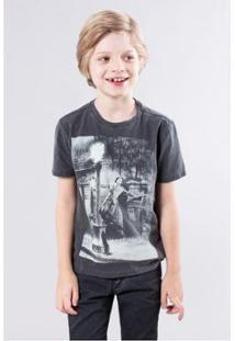 Camiseta Infantil Dançando Na Chuva Reserva Mini Masculina - Masculino-Chumbo