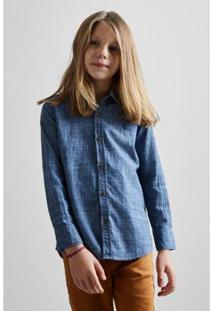 Camisa Masculina Infantil Mini Pf Textura Flame Reserva Mini - Masculino-Azul