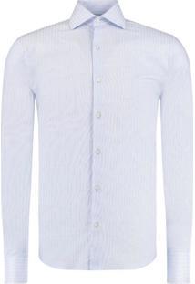 Camisa Vr Ft Maquinetada Listras Ml Azul