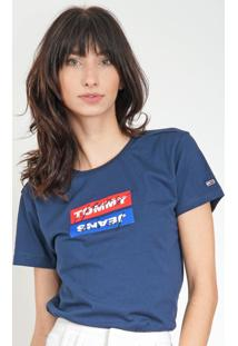 Camiseta Tommy Jeans Lettering Azul