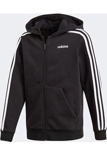 Jaqueta Moletom Infantil Adidas Essentials 3 Stripes Masculina - Masculino-Preto+Branco