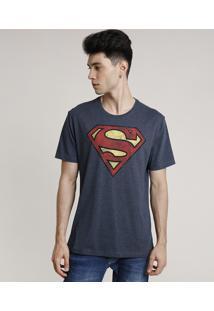 Camiseta Masculina Super Homem Manga Curta Gola Careca Cinza Mescla Escuro