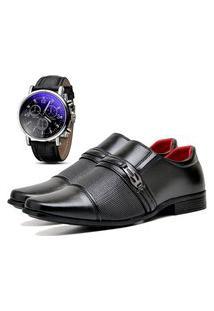 Sapato Social Urbano Com Relógio Masculino Dubuy 821Db Preto