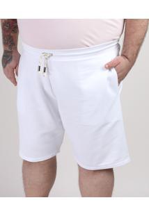 Bermuda De Moletom Masculina Reta Com Bolso Branca