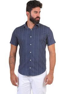 Camisa Micro Estampada Thones Slim Azul Marinho