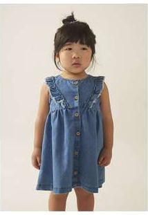 Vestido Sem Manga Em Jeans Com Babado Azul
