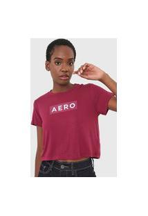 Camiseta Cropped Aeropostale Logo Bordô