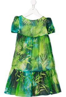 Young Versace Vestido De Seda Com Estampa Tropical - Verde