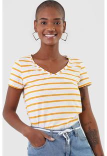 Camiseta Malwee Listrada Off-White - Off White - Feminino - Algodã£O - Dafiti