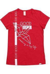 Camiseta Dimy Candy Menina Escrita Vermelha