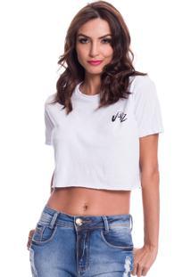 Camiseta Cropped Jazz Brasil Basica Branca - Branco - Feminino - Algodã£O - Dafiti