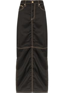 Eytys Contrast Stitch Maxi Skirt - Preto
