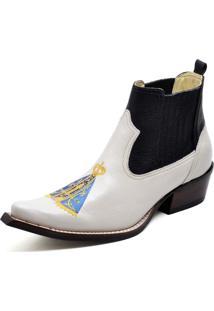 Botina Bota Country Bico Fino Top Franca Shoes Verniz Branca / Preta