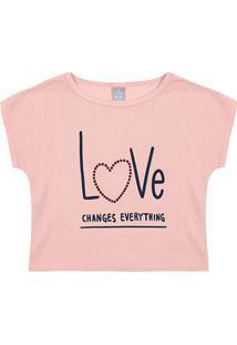 Blusa Infantil Hering Kids Love Feminina - Feminino-Rosa Claro
