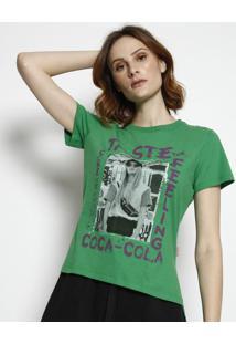 "Camiseta ""Taste The Feeling""- Verde & Roxa- Coca-Colcoca-Cola"
