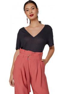 Camiseta Amaro Decote V Amplo Feminina - Feminino