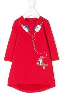 Little Marc Jacobs Vestido Esstampdo Com Botões - Vermelho de9335b8b3