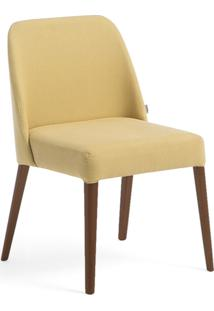 Cadeira Rosini - Base Amãªndoa E Tecido Amarelo
