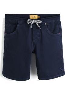 Bermuda Jeans Vr Kids Liso Infantil Azul-Marinho
