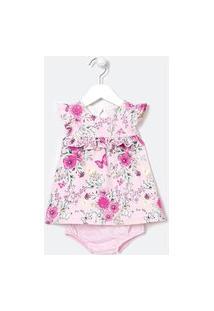Vestido Infantil Estampa Floral Com Calcinha - Tam 0 A 18 Meses | Teddy Boom (0 A 18 Meses) | Rosa | 12-18M