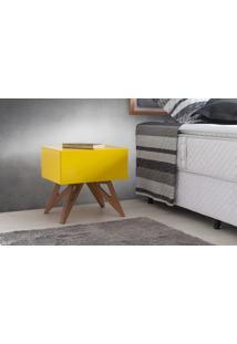 Criado-Mudo Retrô Colorido Amarelo Design Moderno Vintage Freddie - 46,6X34,1X45,2 Cm