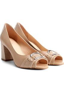 Peep Toe Shoestock Salto Grosso Mix Croco - Feminino