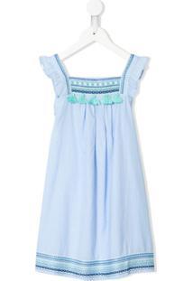 Sunuva Vestido De Algodão Com Bordado Geométrico - Azul