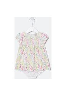 Vestido Infantil Estampado Floral Com Calcinha - Tam 0 A 18 Meses | Teddy Boom (0 A 18 Meses) | Branco | 9-12M