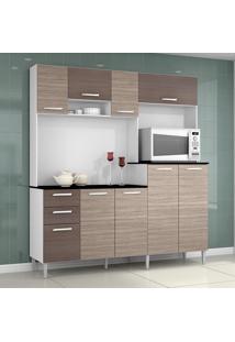 Cozinha Compacta 9 Portas 2 Gavetas Gisele 423 Amêndoa/Capuccino - Poquema