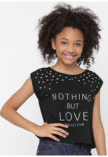 Camiseta Infantil Colcci Fun Nothing But Love Feminina - Feminino-Preto