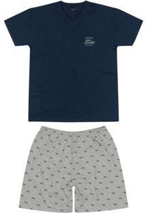 Pijama Masculino Curto Malwee 1000088394 02023-Azu