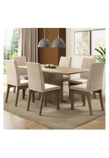 Conjunto Sala De Jantar Madesa Cecília Mesa Tampo De Madeira Com 6 Cadeiras Rustic/Crema/Fendi