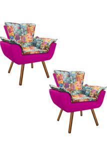 Kit 02 Poltrona Decorativa Opala Suede Composê Estampado Street D05 E Suede Pink - D'Rossi