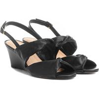 48bfa5aed7 Sandália Anabela Couro Shoestock Drapeado Feminina - Feminino-Preto