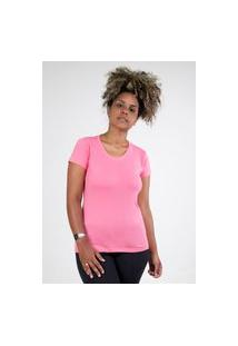 Camiseta Meio Swag Básica Gola Redonda Rosa