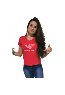 Camiseta Feminina Gola V Cellos Mosaico Premium Vermelho