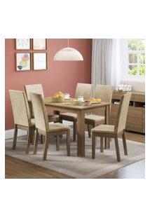 Conjunto Sala De Jantar Sara Madesa Mesa Tampo De Madeira Com 6 Cadeiras Rustic/Imperial