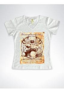 Camiseta Feminina Gola V Rock Cool Tees Bateria Da Vinci Branca