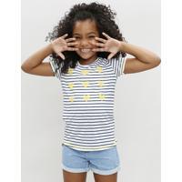 Blusa Infantil Listrada Com Corações Manga Curta Decote Redondo Branca 2f49e9aed15