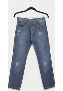 Calça Jeans Juvenil Fatal Reta Com Puídos Masculina - Masculino