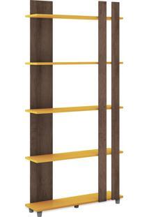 Estante Decorativa 800X1646X226 Mm 5 Prat Rustico/Amarelo Movelbento