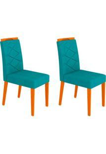 Conjunto Com 2 Cadeiras Caroline Ipê E Turquesa