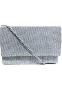 Bolsa Clutch Textura Tecido Brilhoso