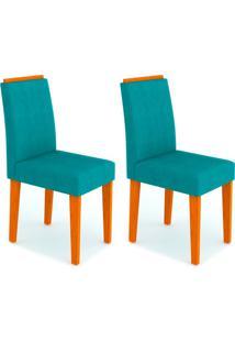 Conjunto Com 2 Cadeiras Amanda Ipê E Turquesa