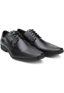 Sapato Social Couro Ferracini Liverpool Amarração Masculino - Masculino-Preto