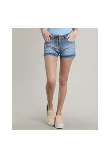 Short Jeans Feminino Reto Com Barra Dobrada E Cinto Azul Claro
