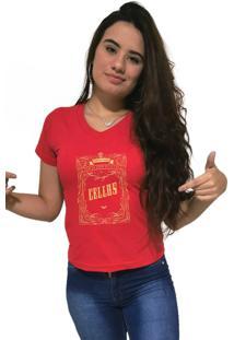 Camiseta Feminina Gola V Cellos Retro Frame Premium Vermelho - Kanui