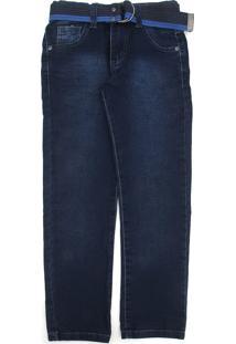 Calça Jeans Mania Kids Infantil Com Cinto Azul
